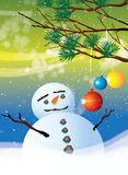 Christmas Baubles and Snowman Stock Images
