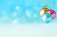 Christmas Baubles on Snowy Background Royalty Free Stock Photography