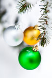 Christmas baubles on a snowy pine Royalty Free Stock Images