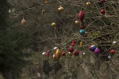 Christmas baubles in Southampton Old Cemetery stock photos