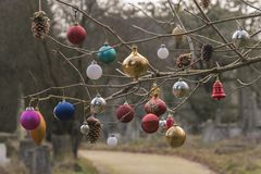 Christmas baubles in Southampton Old Cemetery stock images