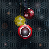 Christmas baubles with speaker Royalty Free Stock Image