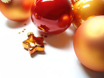 Christmas baubles + star Stock Photography