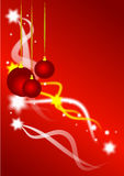 Christmas Baubles and Stars Background. A christmas background on a red graduated base with stars and swirls forming a backdrop for three red highlighted baubles Royalty Free Stock Photos