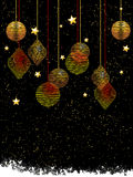 Christmas baubles and stars portrait background Stock Image