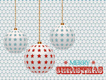Christmas baubles with stars on white 3d background Stock Photos
