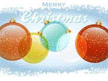 Christmas baubles with text and snow Royalty Free Stock Photos