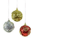 Christmas baubles. Three Christmas baubles or decorations Royalty Free Stock Photography