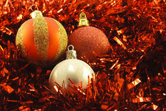 Christmas Baubles and Tinsel Royalty Free Stock Photography
