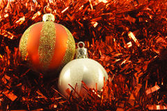 Christmas Baubles and Tinsel Royalty Free Stock Photos