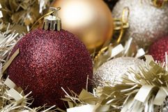 Christmas Baubles and Tinsel Stock Image