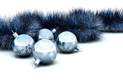 Christmas baubles and tinsel royalty free stock images