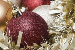 Christmas Baubles and Tinsel Macro Royalty Free Stock Photography