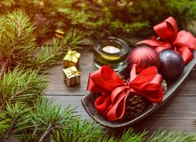 Christmas Baubles on Top of Tray Royalty Free Stock Photos