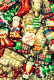 Christmas baubles, toys, garlands and ornaments. vintage style Stock Image