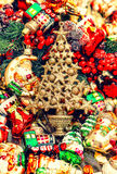 Christmas baubles, toys and garlands. vintage decorations Stock Photography