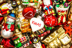 Christmas baubles, toys and ornaments. colorful decorations Stock Image
