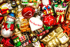 Christmas baubles, toys and ornaments. colorful decorations Royalty Free Stock Image