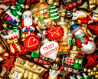 Christmas baubles, toys and ornaments. retro style toned Royalty Free Stock Images