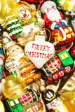 Christmas baubles, toys and ornaments. Vintage colorful decorati Royalty Free Stock Photo