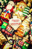 Christmas baubles, toys and ornaments. vintage colorful decorati Stock Image