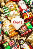 Christmas baubles, toys and ornaments. vintage colorful decorati Royalty Free Stock Photos