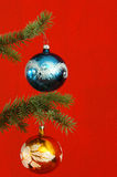 Christmas baubles on tree Royalty Free Stock Images