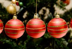 Christmas baubles with tree in the background Royalty Free Stock Photos