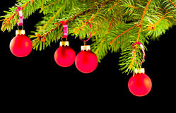 Christmas baubles on tree black black Stock Photos