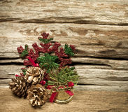 Christmas baubles and vary of decoration on wood background Royalty Free Stock Photos
