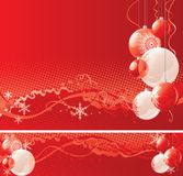 Christmas baubles. Vector horizontal illustration of christmas baubles  on red abstract background Royalty Free Stock Photos