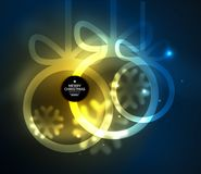 Christmas baubles, vector magic dark background with glowing New Year spheres Royalty Free Stock Photo