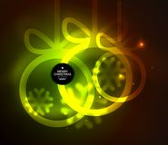 Christmas baubles, vector magic dark background with glowing New Year spheres Stock Photography