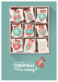 Christmas baubles. Vintage Christmas baubles in a box, preparing for Christmas concept Stock Illustration