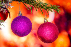 Christmas baubles in violet colors Royalty Free Stock Photo