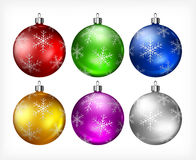 Christmas baubles on white Royalty Free Stock Photos