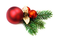 Christmas baubles on white background Royalty Free Stock Images
