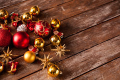 Christmas baubles on a wooden table Stock Images