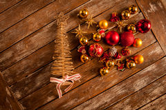 Christmas baubles on a wooden table Stock Photos
