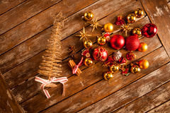 Christmas baubles on a wooden table Royalty Free Stock Images