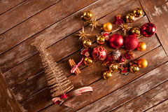 Christmas baubles on a wooden table Stock Photo