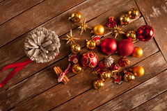 Christmas baubles on a wooden table Royalty Free Stock Photography