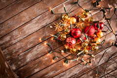 Christmas baubles on a wooden table Stock Photography