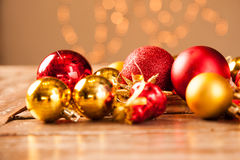 Christmas baubles on a wooden table Stock Image