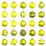 Christmas baubles yellow pack on white background Stock Image