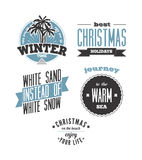 Christmas on the beach. Set of vector typography designs Stock Photos