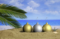 Christmas beach vacation concept. 3d illustration Stock Photography