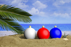 Christmas beach vacation concept. 3d illustration Stock Images