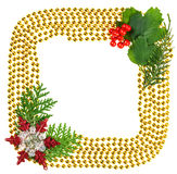 Christmas beads garland decoration frame Stock Image