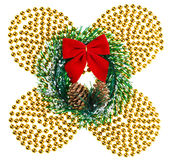 Christmas beads garland with wreath and red bow Stock Photography
